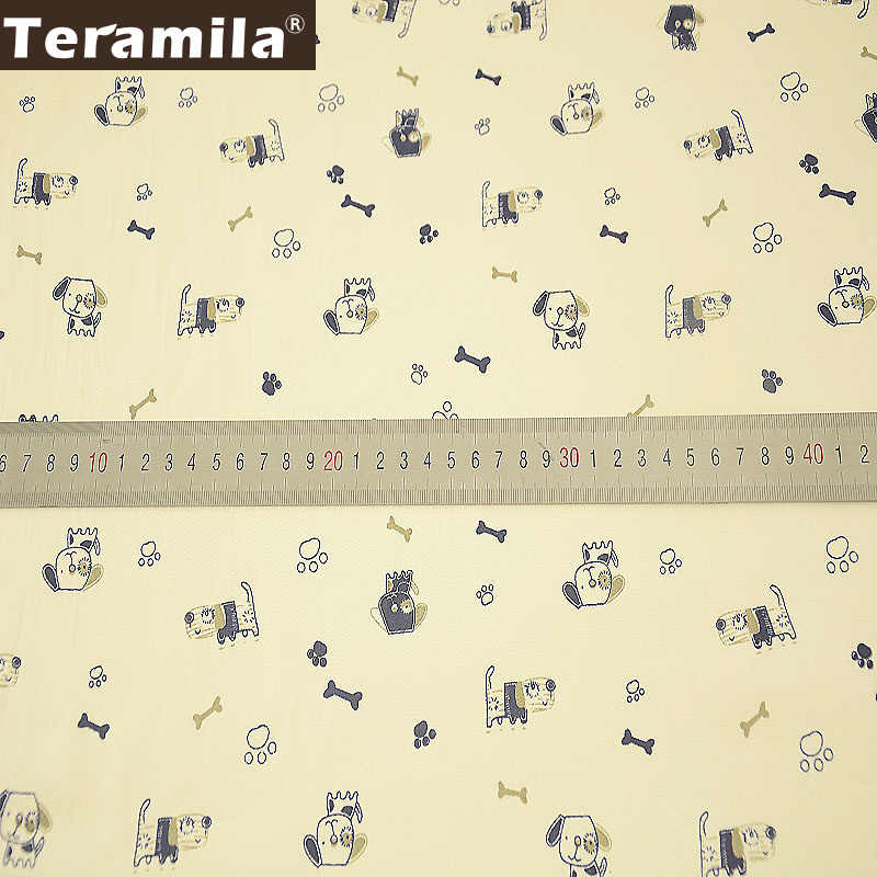Teramila Tissu 綿 100% ベージュ縫製織物計 Telas 寝具パッチワークキルティング布漫画犬デザイン Tecido