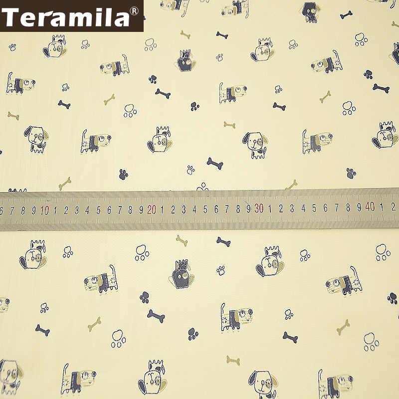 Teramila Tissu % 100% pamuk bej dikiş tekstil kumaş metre Telas yatak Patchwork kapitone kumaş karikatür köpekler tasarım Tecido
