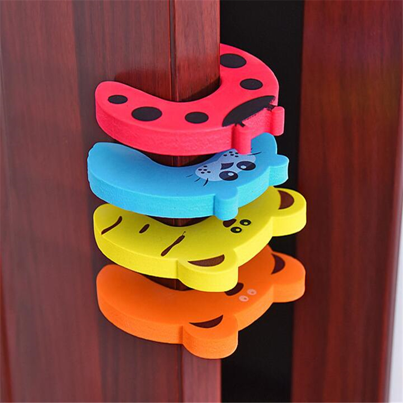 5pcs/Lot Kids Baby Lock Safety Edge Corner Guards Cartoon Animal Jammers Stop For Children Door Stopper Holder Finger Protector