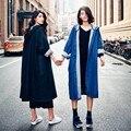 Новый 2016 Уличная Капюшоном Джинсовая Длинные женские Траншеи женский Открытый Плюс Размер Длинным Рукавом Кардиган Outerwears Топ Женский Ткань