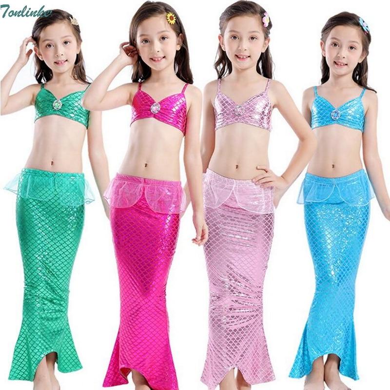 Tonlinker 2018 Nuevos Niños Cola de sirena Swimmable Swimwear traje - Disfraces