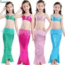 Tonlinker 2018 New Children Mermaid Tail Swimmable Swimwear Swimsuit Girls Kids BikiniKids Costume Swimming Clothes 3-9Y