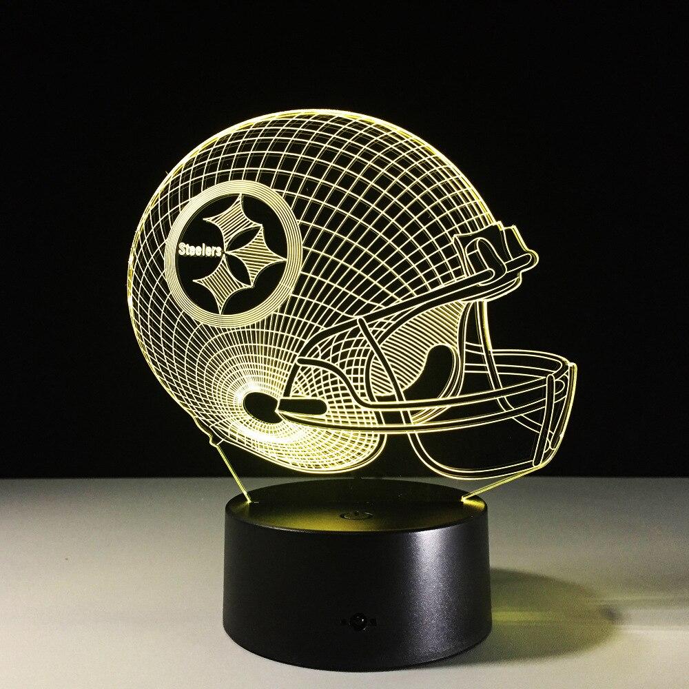 7 Colors Change 3D LED Night Light NFL Team Pittsburgh Steelers Football Helmet Touch Sensor USB Table Lamp Home Decor Kids Gift