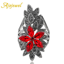 Ajojewel Luxury Red Crystal Zircon Flower Rings For Women 2017 New Fashion Jewelry Big With Rhinestones Gifts Girls
