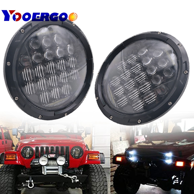 7 Inch 75W H4 LED Headlights Daymaker Lamp With Angle Eyes 7 Round Headlamp For Lada 4x4 Urban Niva Land Rover 90/110 Defender