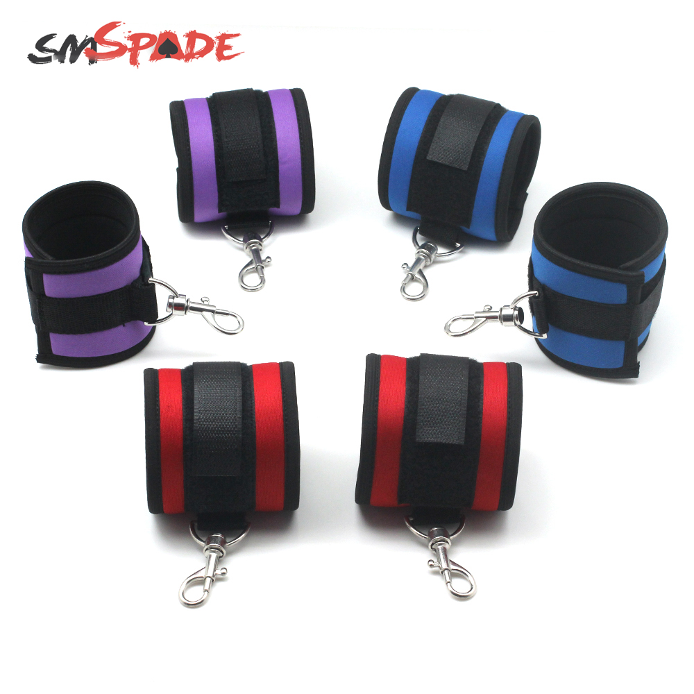 SMSPADE Three Color Neoprene Bondage Boutique Soft Handcuffs <font><b>For</b></font> <font><b>Couples</b></font> <font><b>Adult</b></font> <font><b>Games</b></font> <font><b>Sex</b></font> <font><b>Toys</b></font> Restraint Cosplay Tool image