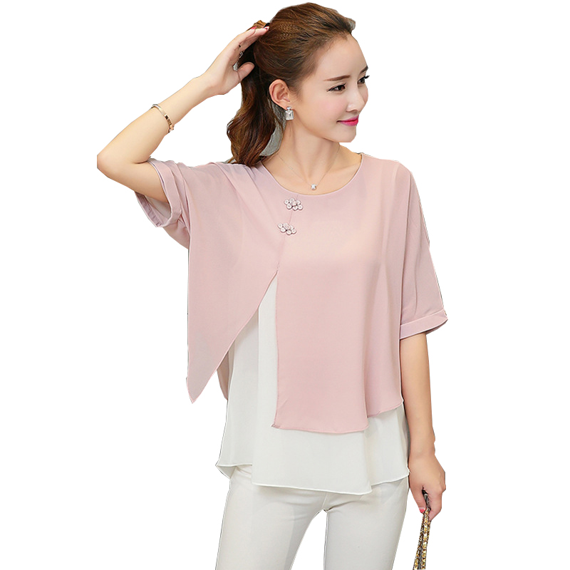 New Fashion 2019 Summer Loose Casual Women Chiffon   Blouses     Shirt   Batwing Sleeve Two Layer Ladies Tops Buttons Blusas Clothing