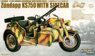 Model 1:35 German KS750 L3508 Darpoo Statue of Three Wheeled Motorcycle Assembly Model Gift Ornaments Model Buiding Kits when tamiya model motorcycle ducati ducati 1199 1 12 panigle s 14129 model buiding kits