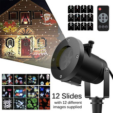 12 Patterns Laser Projector lamp Christmas Decoration Moving LED Stage Light Waterproof Outdoor Landscape Garden Projector Lamp недорого