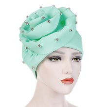 62687535c9249 NIBESSER Fashion Women New Style Ruffled Big Flower Scarf Cap Muslim Head  Wrap Cap Chemo Turban