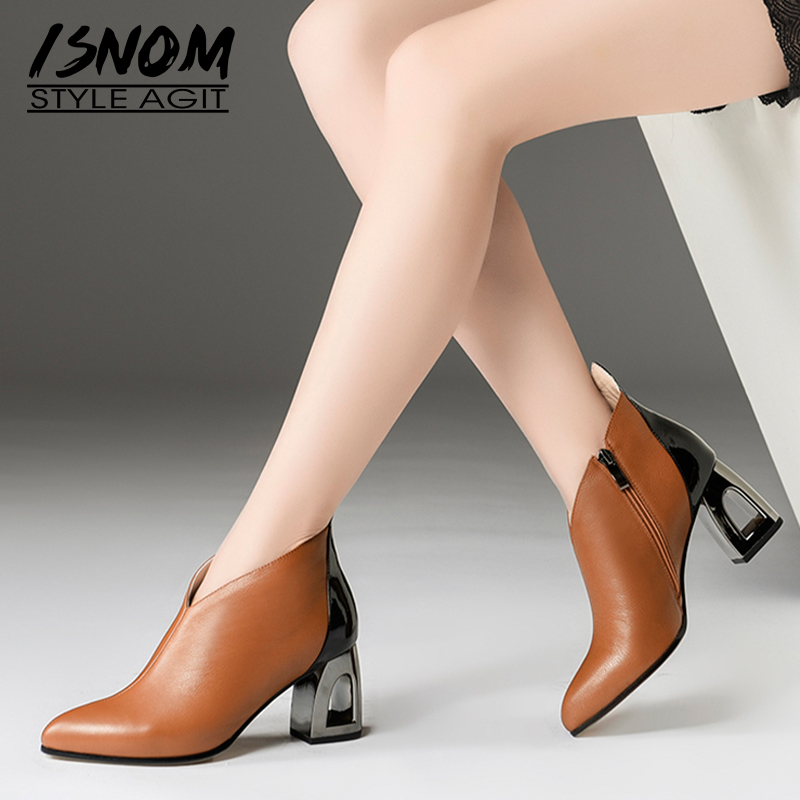 ISNOM Genuine Leather Ankle Women Boots Pointed Toe Zip Footwear Unusual High Heel Party Female Boot New Shoes Woman 2018 Winter 2018 new arrival denim ripped ankle boots sexy pointed toe winter boots female footwear women s high strange heel shoes side zip