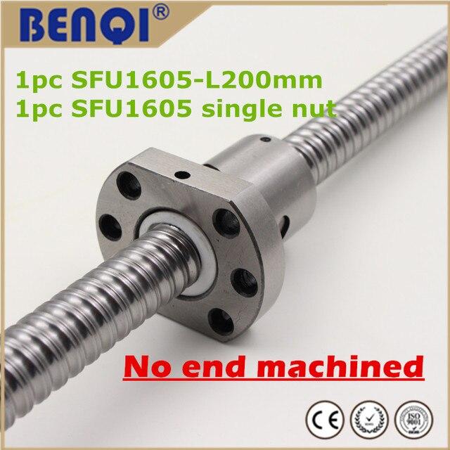 China 16mm diameter pitch 5mm cnc ball screw sfu 1605 200mm ballscrew with a nut length no end machined