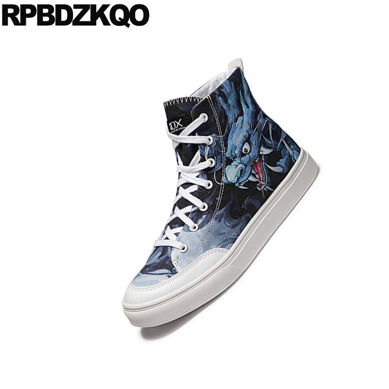 Primavera Hombres Superior Alta Runway Marca Impreso Zapatos Pintura Lona De Hip Skate Zapatillas Casuales Moda Hop Transpirable Azul Udqaxw