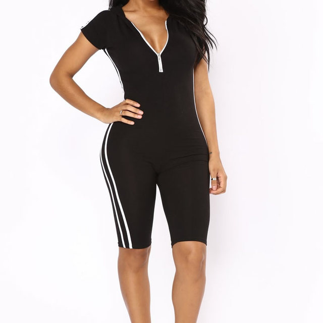 d8ba6879a2fd Women Summer Zipper V neck bandage jumpsuits side Striped short sleeve  skinny Sport suit Sexy Slimming rompers women jumpsuit
