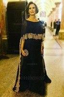 Темно синий Мать невесты платья с Кепки золото Аппликация Пол Длина 2018 плюс Размеры вечерние платья для матери жених