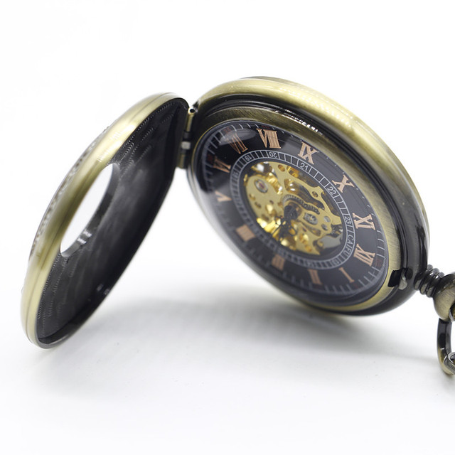 Antique Bronze Wooden Mechanical Pocket Watch With Pendant Chain Roman Number Dial Men Women Gifts Clock With Box