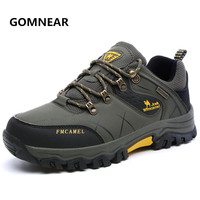GOMNEAR Genuine camel Hiking Shoes Men's Outdoor Tennis Hunting Athletics Shoes Breathable Antiskid Trekking Jogging Sport Shoes
