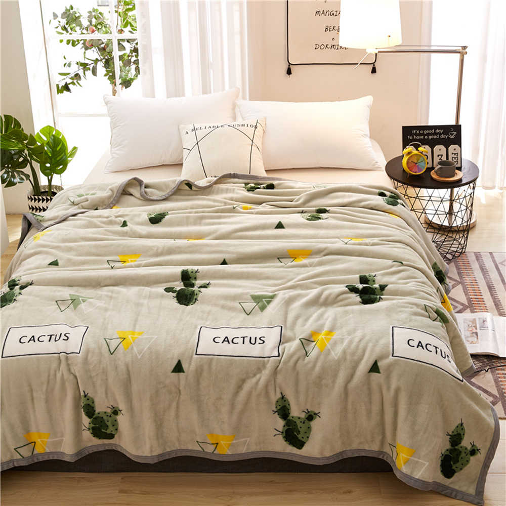 2019 Light Grey Cactus Soft Summer Print Thin Blanket Little Throws Coral Fleece Microfiber Plaids Bedsheet Polyester
