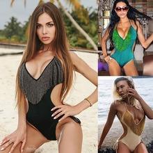 2019 Hot New Bikini Sexy Openwork Waist Siamese Womens Swimwear Fashion Fringe Beach Deep V-neck One piece Swimsuit