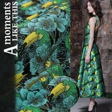 SASKIA 1Meter Floral Jacquard Brodace Fabric 65Wide Green Polyester Cotton Material Sewing On Dress Clothes Coats Patchwork Diy