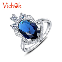 VICHOK 925 Sterling Silver Ring Oval Cut With Multi White Crystal Zircon Ring Platinum Color For Women Fine Jewelry Anel Feminin