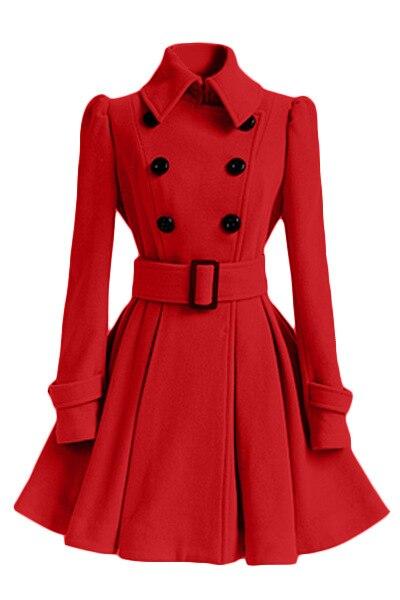 Moda primavera casual inverno casaco de lã mulher saia tipo a linha de lã jaqueta feminina inverno casaco feminino duplo breasted