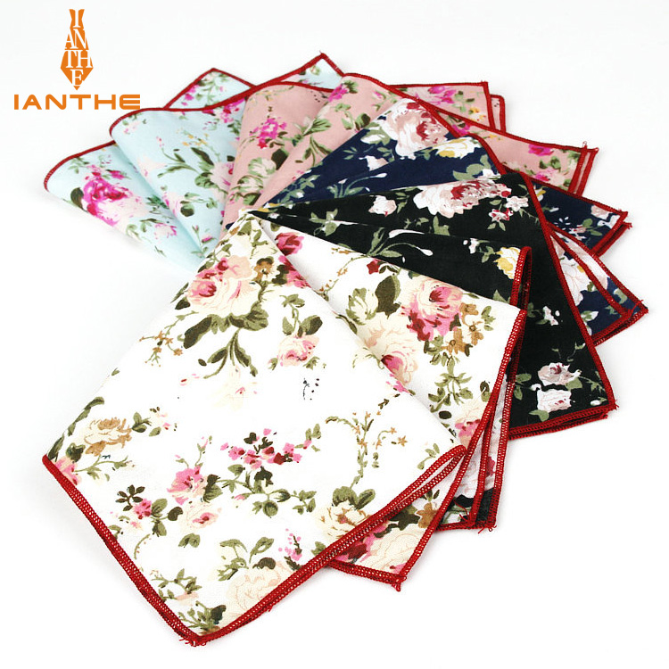 Vintage Styles Brand New Handkerchief Floral Printed Pocket Square Wedding Party Suits Hankies For Men Pocket Towel Hanky