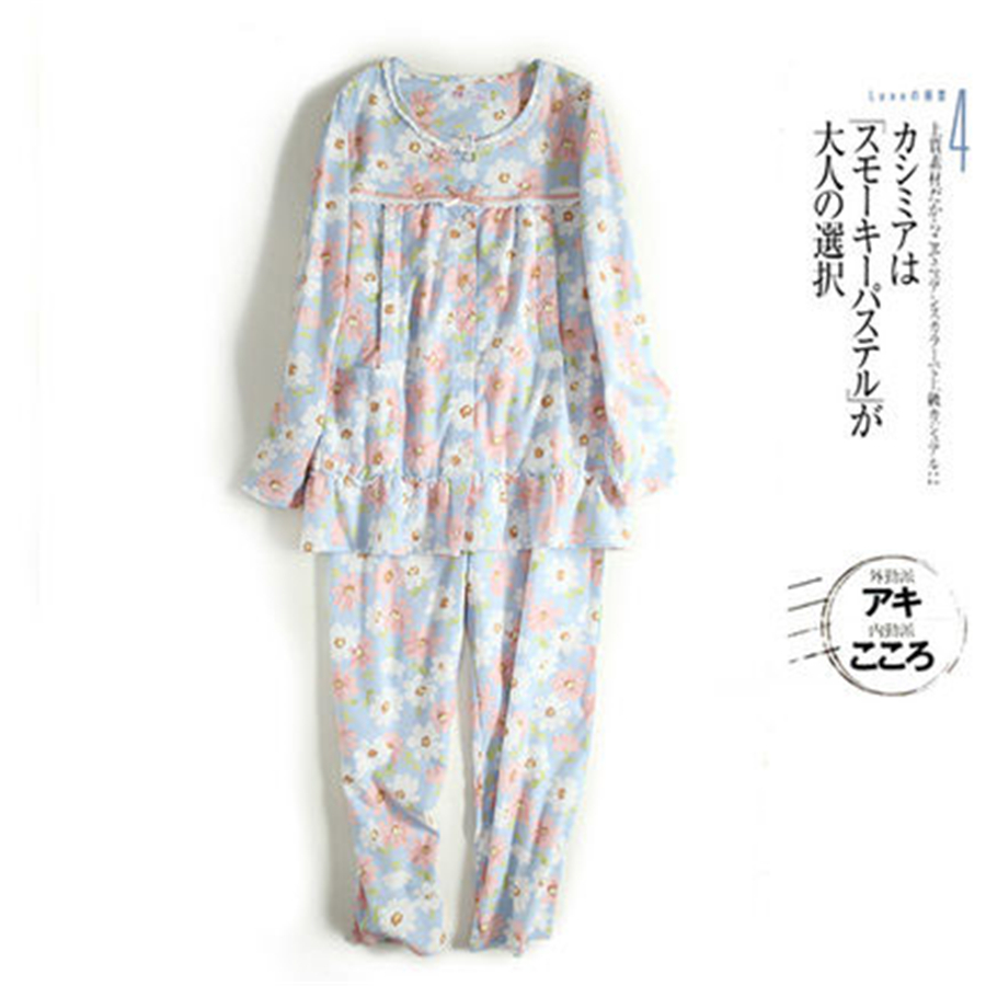 цена на Long Sleeved Maternity Clothes For Pregnant Women Pajamas Warm Suit Home Cute Women Soft Cotton Maternity Suit 50M0025