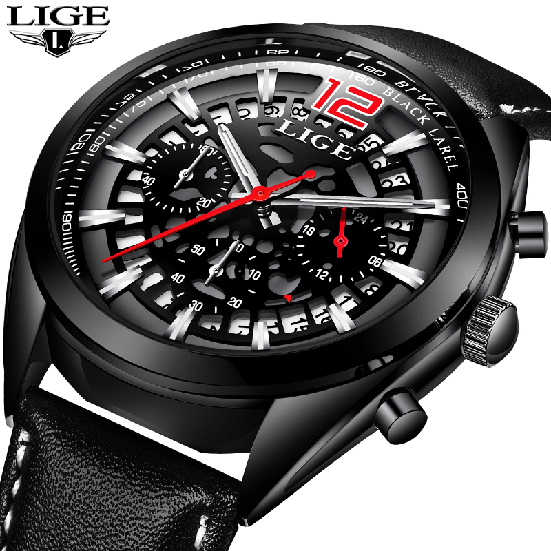 LIGE Mens Watches Top Brand Luxury Business Leather Casual Watch Men Military Sports Waterproof Quartz clock Relogio Masculino