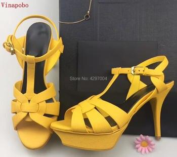 2019 Newest Sexy Luxury Platform Tribute Sandals туфли женские T Strap Matte Leather High Heel Sandals Fashion shoes woman Summe
