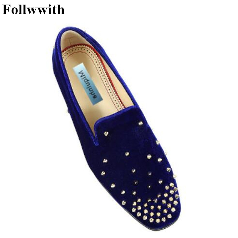 Designer Luxury Mens Casual Shoes Fashion Rivet Bule Suede Leisure Slip On Mens Loafers Shoes Party Weeding Dress Shoes For Men luxury pointed toe rivet casual shoes england designer party and banquet men loafers fashion young man walking street shoes