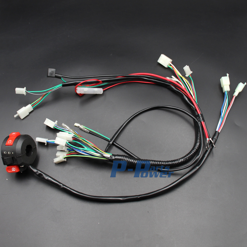 wiring harness loom with kill light starter switch 50cc 70cc 90cc 110cc 125cc 140cc atv quad bike buggy gokart new [ 1000 x 1000 Pixel ]
