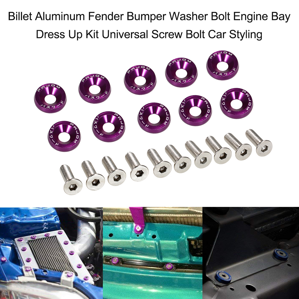 2 PC PURPLE BILLET ALUMINUM FENDER//BUMPER WASHER//BOLT ENGINE BAY DRESS UP KIT