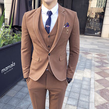 Luxury Brand Mens Suits Designers British Style Wedding Suits For Men High Quality Grey Khaki Casual Suit Male 3 PCS Q631
