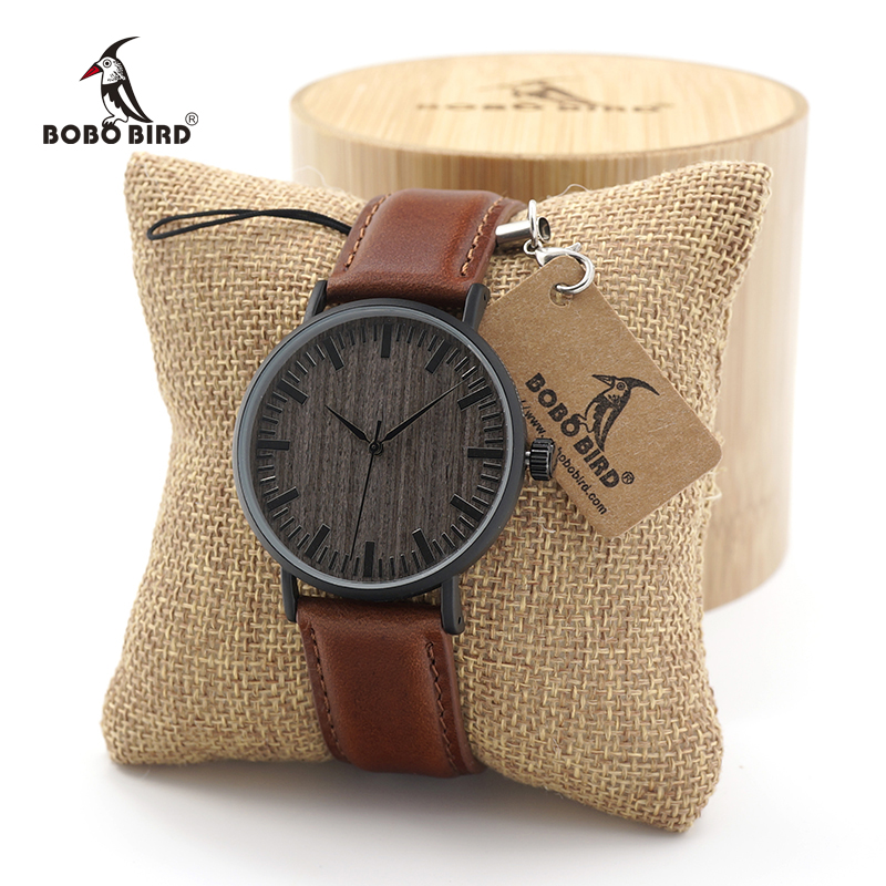 BOBO BIRD 2017 women fashion Round Vintage Quartz Watches men Stainless Steel Watch with Real Leather Strap in Gift Box