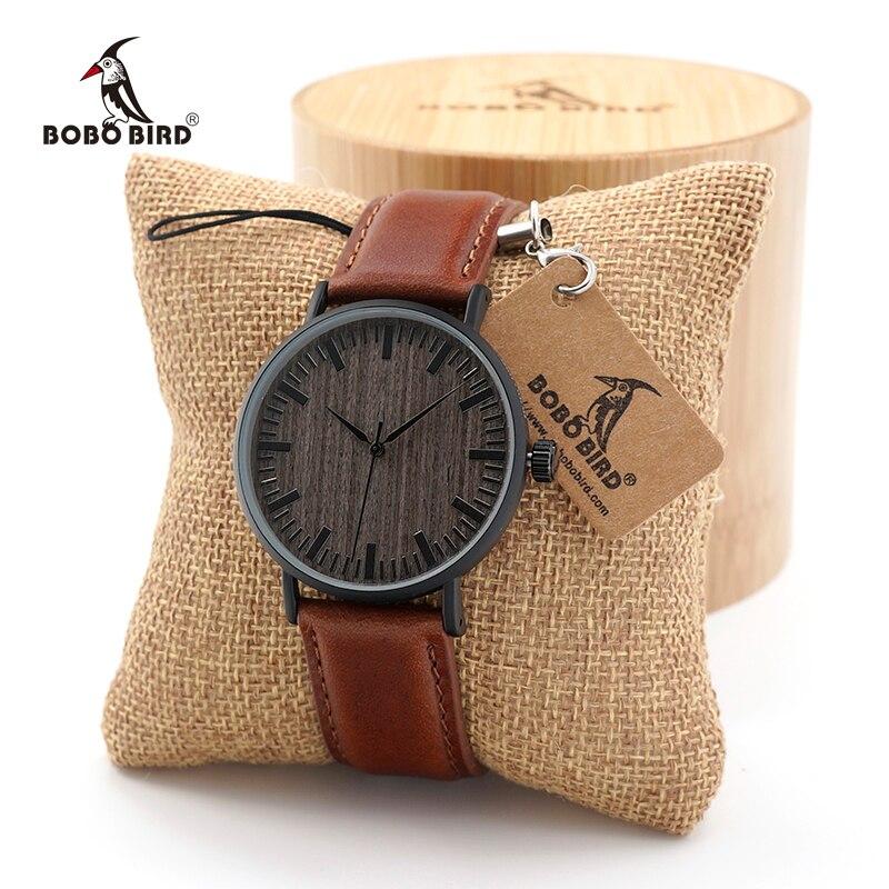 Women Watches Men BOBO BIRD  Fashion Round Vintage Quartz Watches Lady Men Stainless Steel Watch With Leather Strap In Gift Box