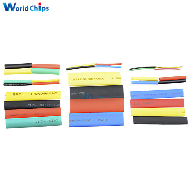 127/140/328/530Pcs Assorted Polyolefin Heat Shrink Tubing Tube Cable Sleeves Wrap Wire Set 8 Size Multicolor/Black 2