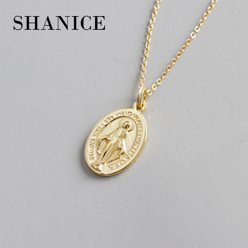 SHANICE 100% 925 Sterling Silver Gold Virgin Mary Pendant Necklace for Women/Girls Our Lady Jewelry Colar Cross Trendy Chain trendy gold plated green stones patterns pendant chain necklace women jewelry