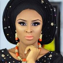 Подлинное коралловое ожерелье ювелирный набор для невесты нигерийские Свадебные африканские коралловые бусины ювелирный набор золотой Дубай Бисер CNR319