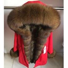 MaoMaoKong abrigo de cuello de zorro natural para mujer, Chaqueta larga de invierno con forro de piel de mapache natural, con capucha gruesa y cálida