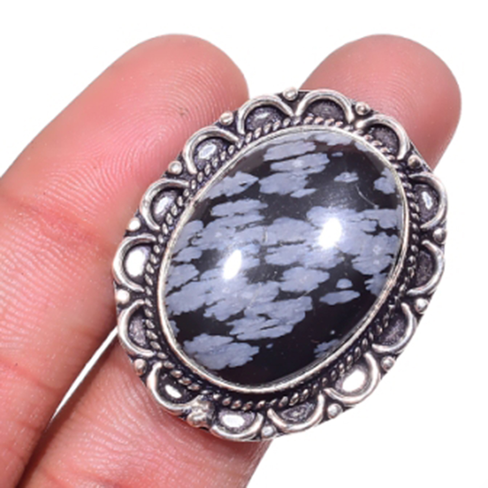 Snowflake Obsidian Ring Silver Overlay over Copper USA Size 8 5 R4645 in Rings from Jewelry Accessories
