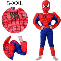 2016 S XXL Muscle Spiderman Costume Children Kid Boy Girl Halloween Costume The Spider Man Mask