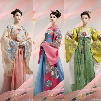 Tang Dynasty Princess and Empress Delicate Embroidery High Waist Costume Hanfu for Newest TV Play Beauty in the Cupboard han dynasty empress wu zetian cosplay hair empress hair tang empress hair chinese ancient hair for women