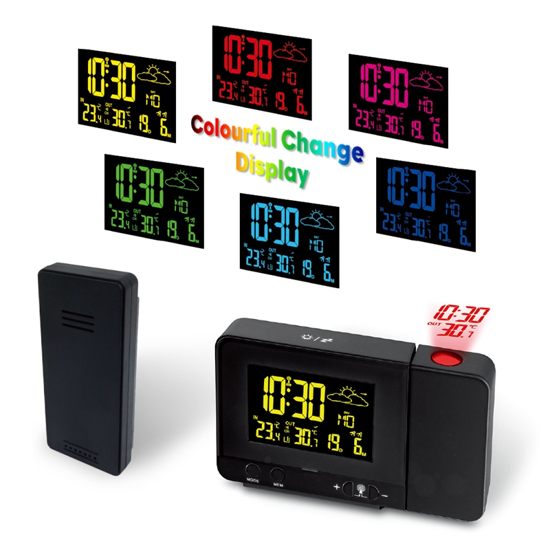 Indoor Outdoor Colorful Change LCD Display Weather Station Radio Control Projection Time Weather Forecast Temperature Sensor