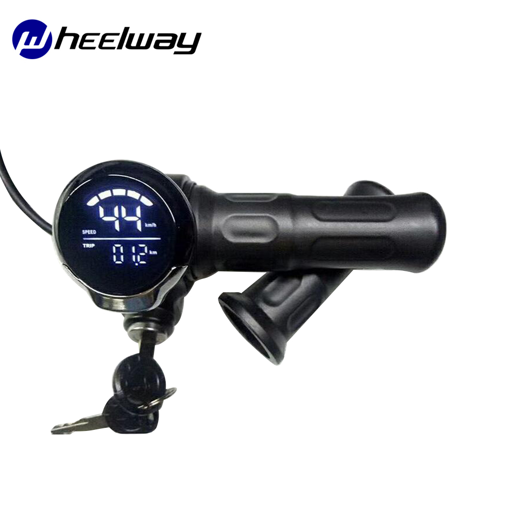 Scooter Throttle Electric Door Lock Accessories 24V/36V/48V/60V With LCD Screen Code Meter Power Display Throttle Speed G Electric Bicycle Accessories     - title=