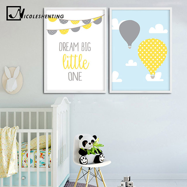 Online Balloon Cartoon Wall Art Canvas Painting Dream Nursery Posters And Prints Nordic Kids Decoration Pictures Baby Bedroom Decor Aliexpress