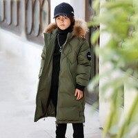 Bilemi kids winter clothes long hooded warm coat russian winter jacket for boy parka kids