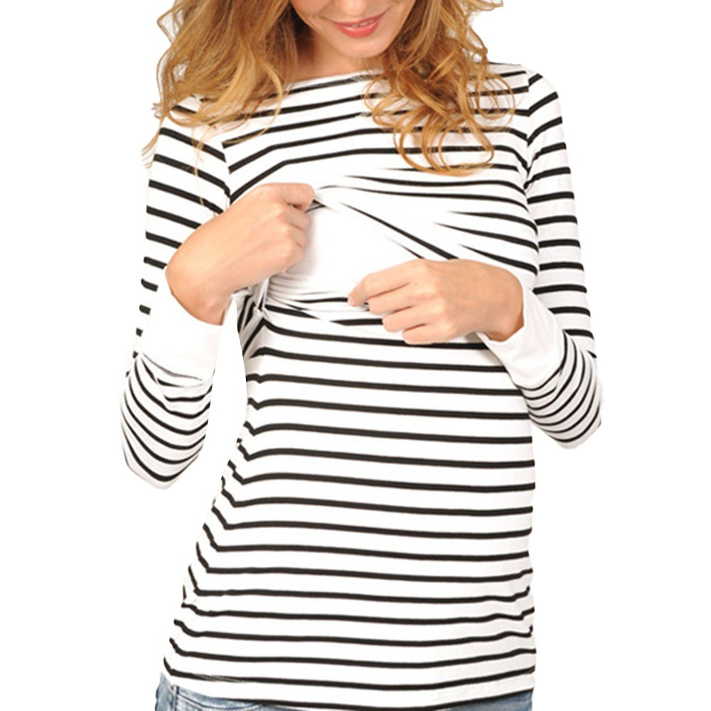 Long Sleeved Stripe Tops Blouse Comfy Loose Maternity Women Mom Pregnant Nursing Baby Maternity Clothes For Pregnant Women In Many Styles Pregnancy & Maternity