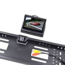 4.3″ LCD Color TFT Foldable Monitor with  Car Rear View Camera Monitor Kit for EU European Car License Plate Frame Camera
