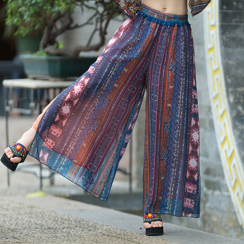 High Split Printing   Wide     Leg     Pants   Women Long Casual   Pant   2019 Summer Vintage Elastic Waist Chiffon Trousers